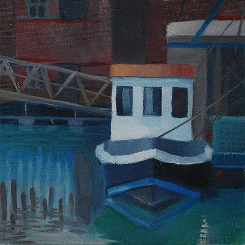 """White Boat, Portsmouth"" original fine art by J M Needham"