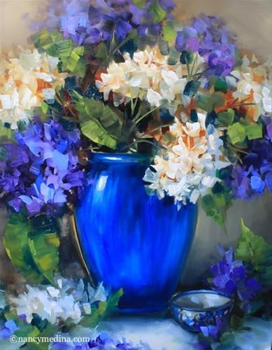 """A Hydrangea Video and New Day Blue Hydrangeas - Flower Paintings by Nancy Medina"" original fine art by Nancy Medina"