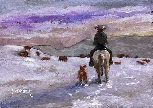 """CHECKING THE HERD - ORIGINAL SMALL PAINTING OF HORSE AND RIDER"" original fine art by Sue Furrow"
