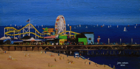 """Santa Monica Pier"" original fine art by Jean Nelson"