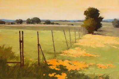 """Golden Fence Line"" original fine art by Laurel Daniel"
