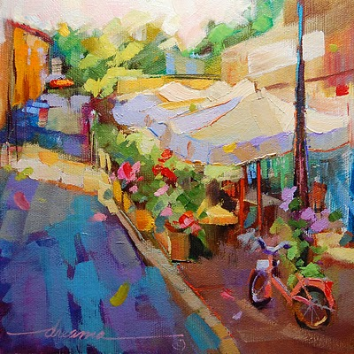 """""""A Perfect Day for a Slow Getaway in France"""" original fine art by Dreama Tolle Perry"""