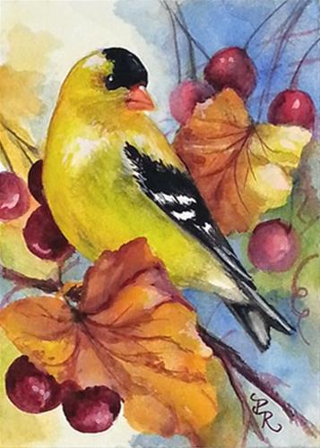 """Gold in Berries"" original fine art by Paulie Rollins"