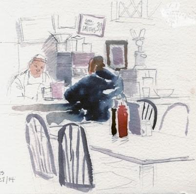 """""""Breakfast at Louis'"""" original fine art by Kathy Weber"""