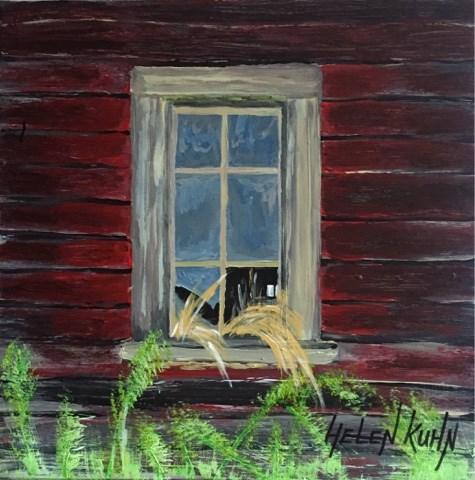 """""""Red Barn Window"""" original fine art by Helen Kuhn"""