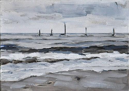"""""""Santa Barbara Beach- Sailboats on a Gray Day"""" original fine art by Kevin Inman"""
