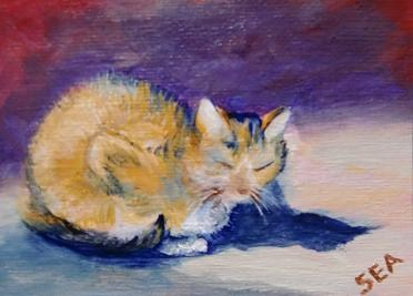"""3032 - ME AND MY SHADOW, CAT - ACEO Pal Series"" original fine art by Sea Dean"