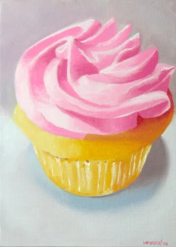 """Mark Webster - Cupcake with Frosting Still Life Oil Painting 2.28.10"" original fine art by Mark Webster"