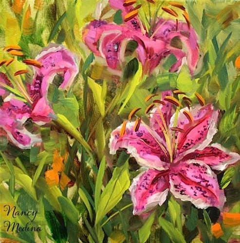 """In the Pink Stargazers by Texas Flower Artist Nancy Medina"" original fine art by Nancy Medina"