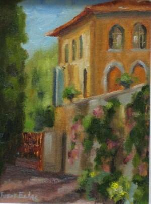 """The Cloister at Convento San Tomaso"" original fine art by Judy Elias"