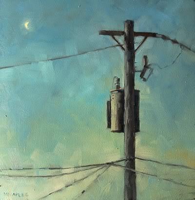 """Utility Pole In Sunset Moon"" original fine art by Michael Naples"