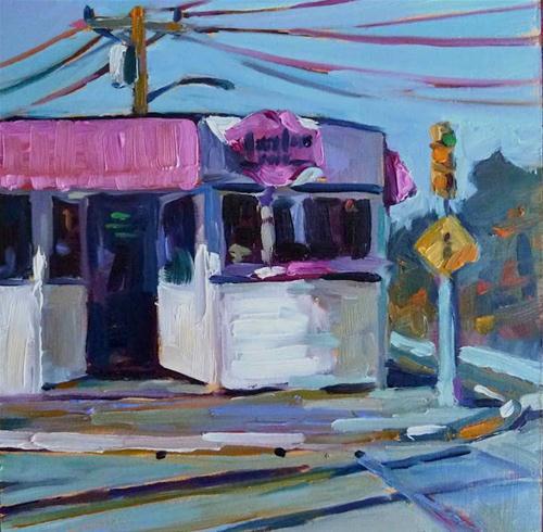 """MaryLou's News 6x6 oil on gesso board"" original fine art by Mary Sheehan Winn"