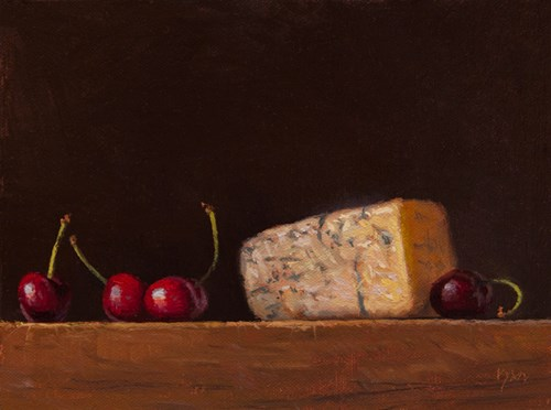 """Four Cherries with Bleu Cheese (larger painting)"" original fine art by Abbey Ryan"