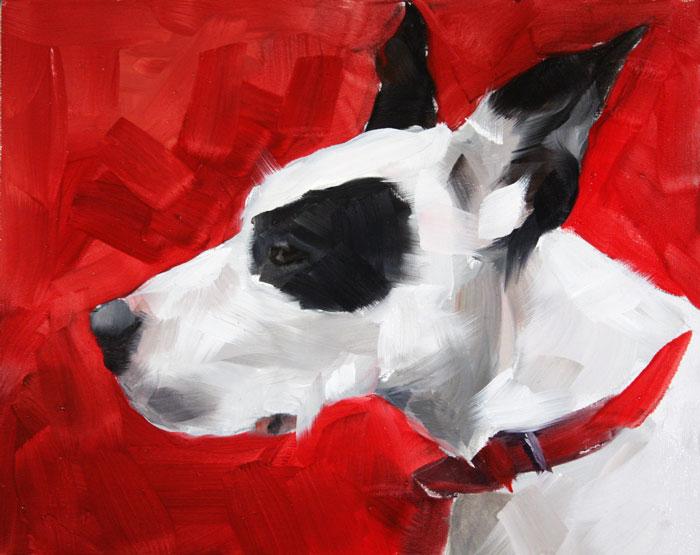 """""""Red Dog"""" original fine art by Clair Hartmann"""