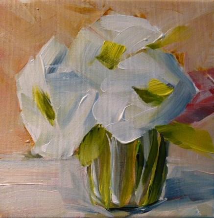 """UntitledWhite Flowers"" original fine art by Sabine Hüning"