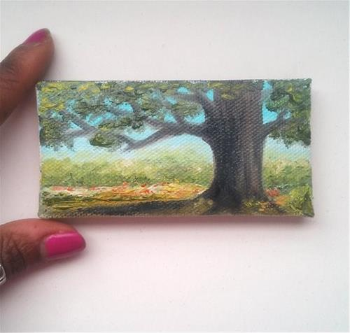 """""""Landscape with Tree"""" original fine art by Camille Morgan"""