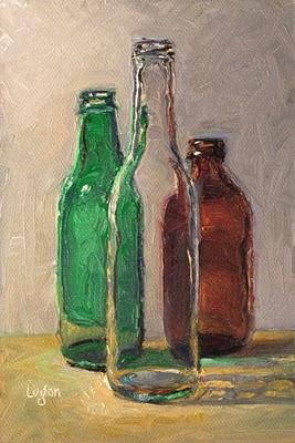 """Bottle Trio #1"" original fine art by Raymond Logan"