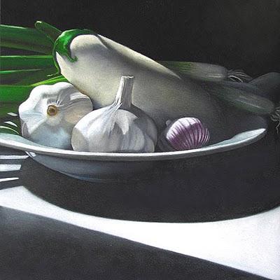 """Eggplant, Garlic and Onions  6x6"" original fine art by M Collier"