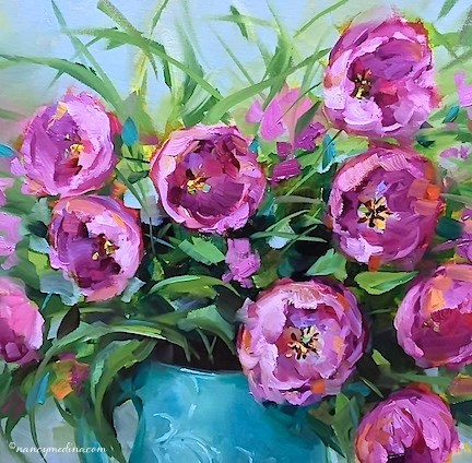 """""""Pink Blush Tulips, a New Video, and a Radio Interview - Flower Painting Classes and Workshops by Nan"""" original fine art by Nancy Medina"""