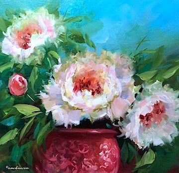 """Holiday Cheer Peonies and the Thankfulness Checklist - Flower Paintings by Nancy Medina"" original fine art by Nancy Medina"
