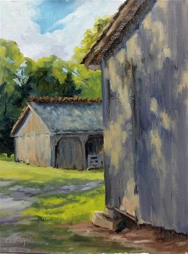 """""""Barns at Faust-en plein air"""" original fine art by Veronica Brown"""