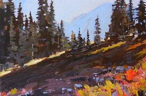 """Alpine Firs oil landscape painting, from Mount Rainier national park."" original fine art by Robin Weiss"