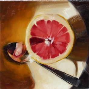"""""""Small Oil Painting of Grapefruit"""" original fine art by Deb Anderson"""