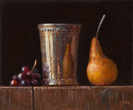 """""""Silver Cup with Pear and Red Grapes (Live Demo Painting)"""" original fine art by Abbey Ryan"""