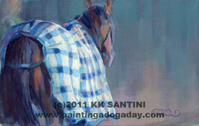 """Blue Plaid, From the Saratoga Series"" original fine art by Kimberly Santini"