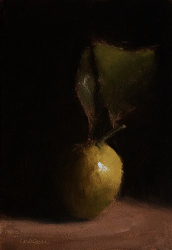 """Lemon with Leaf"" original fine art by Neil Carroll"