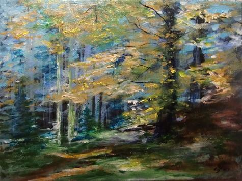"""2105 - Framed - Sunny Glade"" original fine art by Sea Dean"