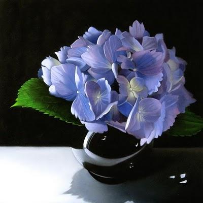 """""""Hydrangea In Black Vase 8x8"""" original fine art by M Collier"""