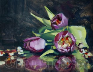 """""""Oil painting of Tulips and Catkins"""" original fine art by Deb Anderson"""