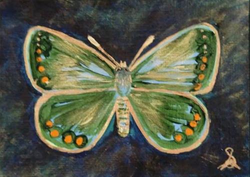 """3134 - LADY BLUE BUTTERFLY - ACEO Series"" original fine art by Sea Dean"