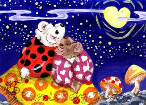"""Cuddle Bug Bears"" original fine art by Kim Loberg"