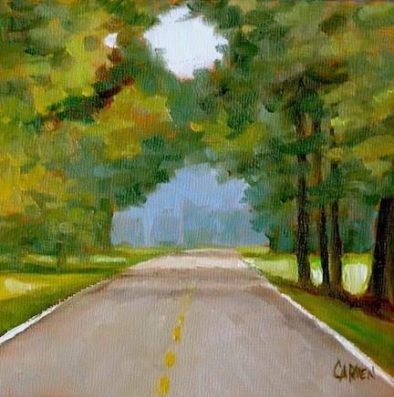 """""""Natchez Trace, 6x6 Oil on Canvas Panel, Landscape Painting"""" original fine art by Carmen Beecher"""