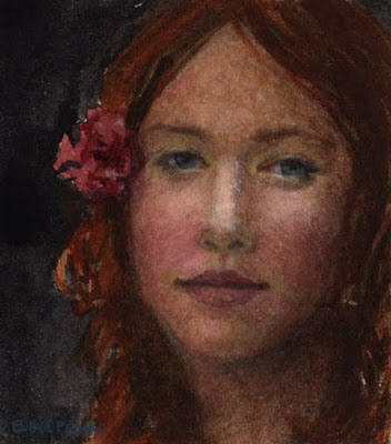 """Watercolor: Study for Sanguine (& an etching by James Lorigan)"" original fine art by Belinda Del Pesco"