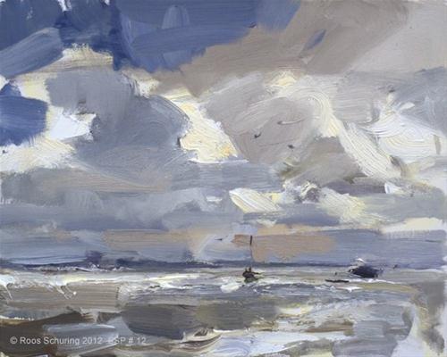 """Seascape spring # 12 At sea I - Varen op zee"" original fine art by Roos Schuring"
