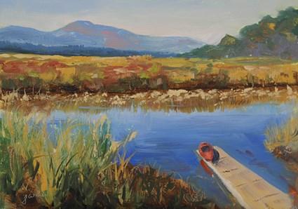 """Red Kayak on a Hudson Marsh"" original fine art by Jamie Williams Grossman"