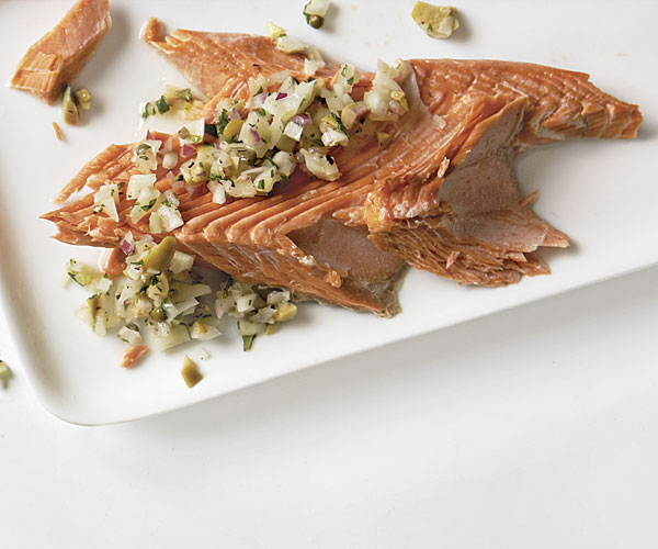 Salt-Crusted Salmon with Fennel and Green Olive Relish