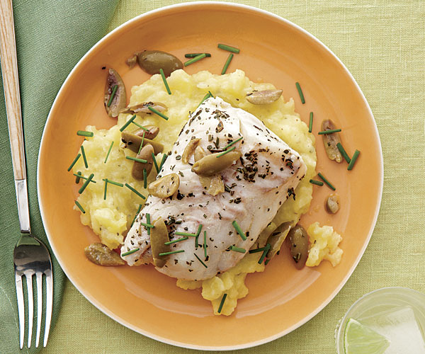 Poached Cod with Green Olives and Potato Purée