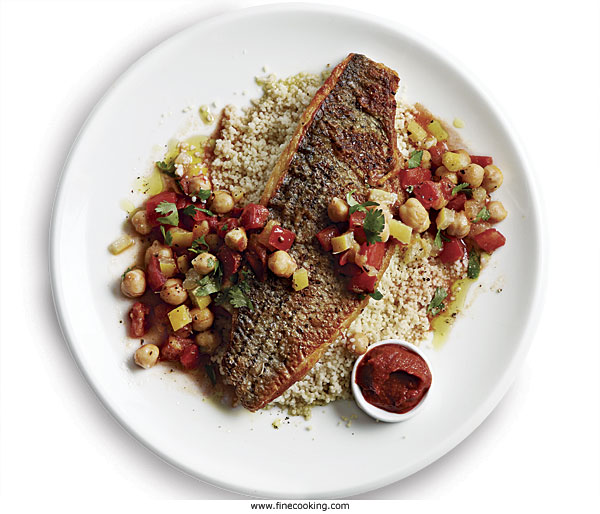 Crisp Striped Bass with Preserved Lemon, Chickpeas, and Couscous