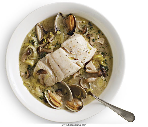 Braised Pacific Halibut with Leeks, Mushrooms, and Clams