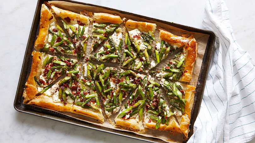 Asparagus Goat Cheese Amp Bacon Tart Recipe Finecooking