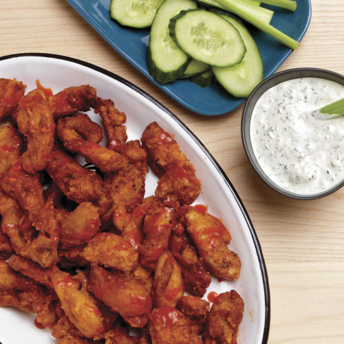 buffalo chicken strips with blue cheese dip recipe finecooking