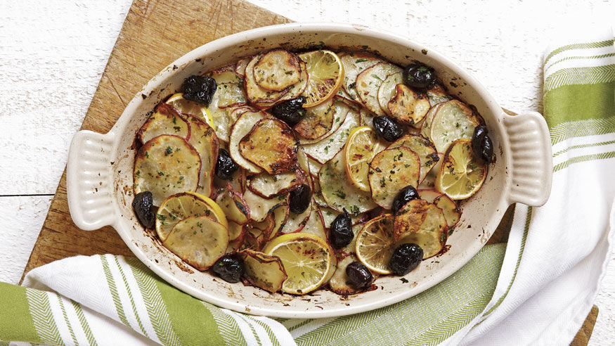 Red Potato Slices With Lemon Olives Recipe Finecooking