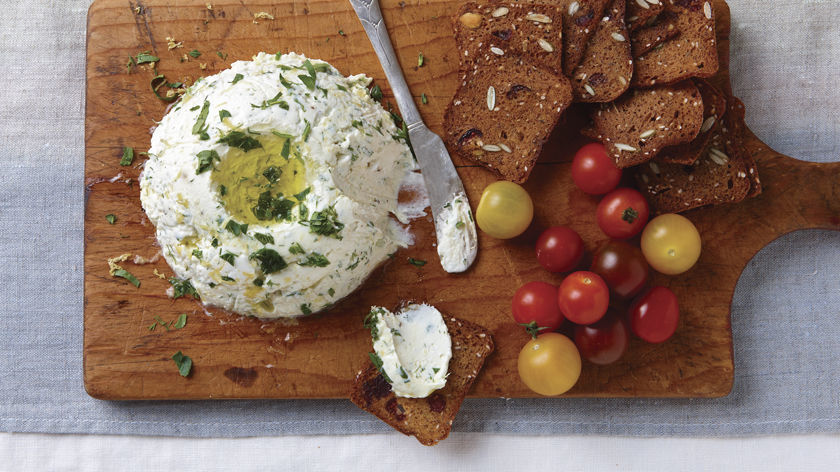 Goat Cheese Spread with Herbs & Olive Oil