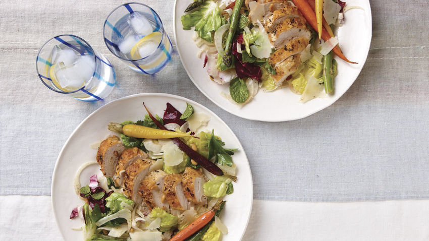 Salad of Roast Chicken & Spring Vegetables with Lemony Dressing