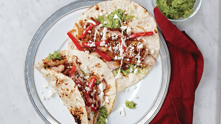 Chicken Fajitas With Red Pepper Onion Lime Recipe Finecooking
