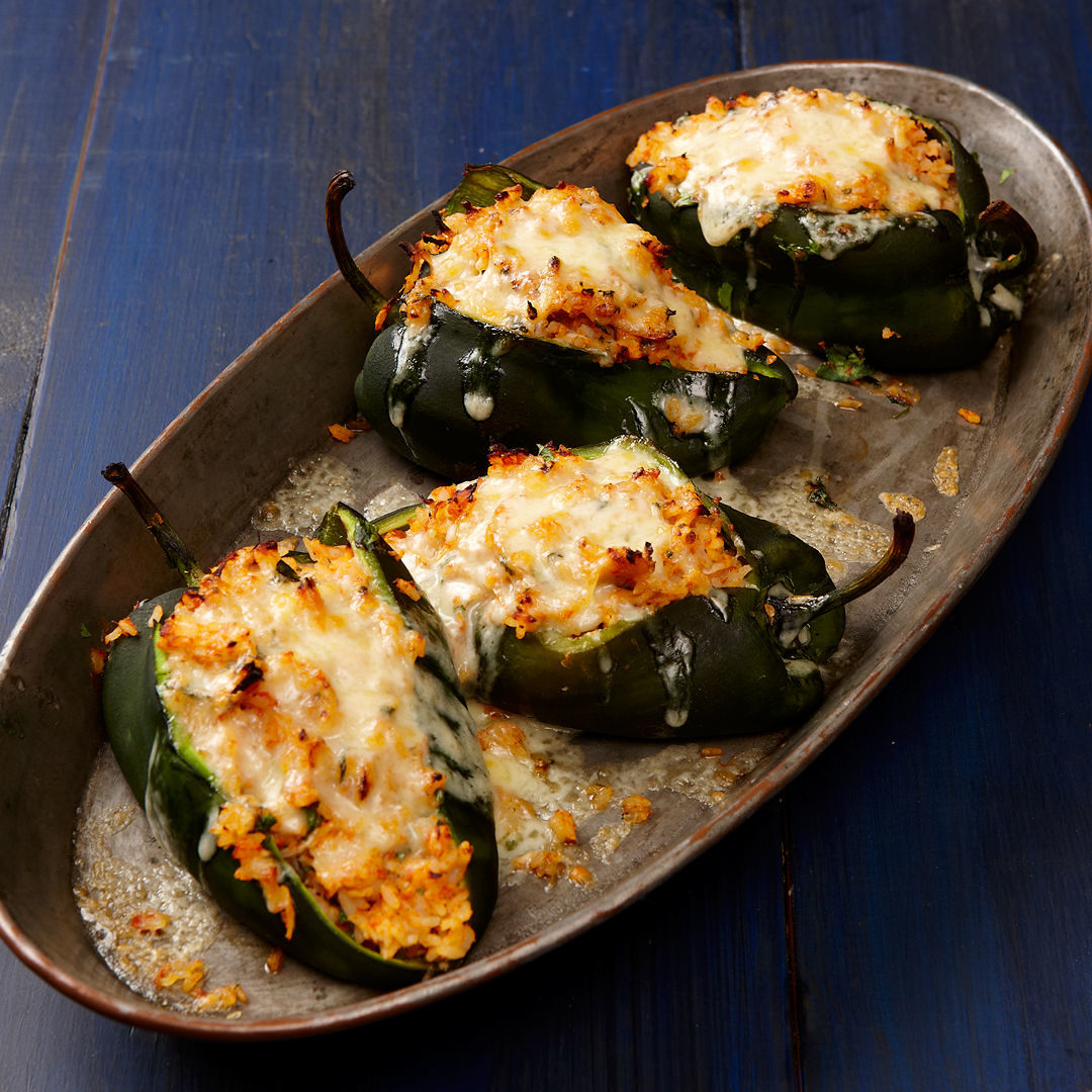 Poblanos Stuffed With Cheddar And Chicken Recipe Finecooking